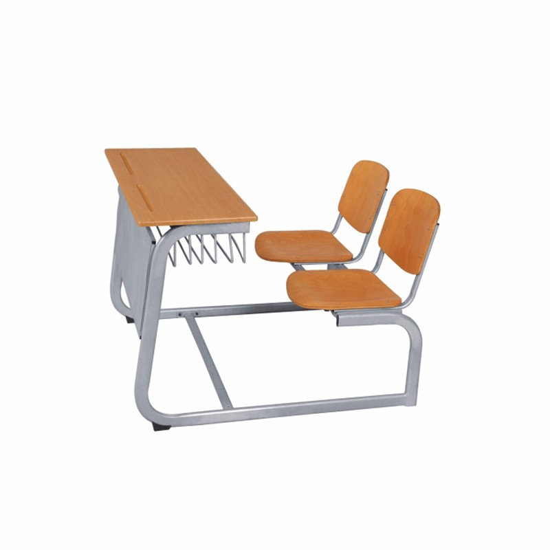 Plywood Folding School Double Desk And Chair