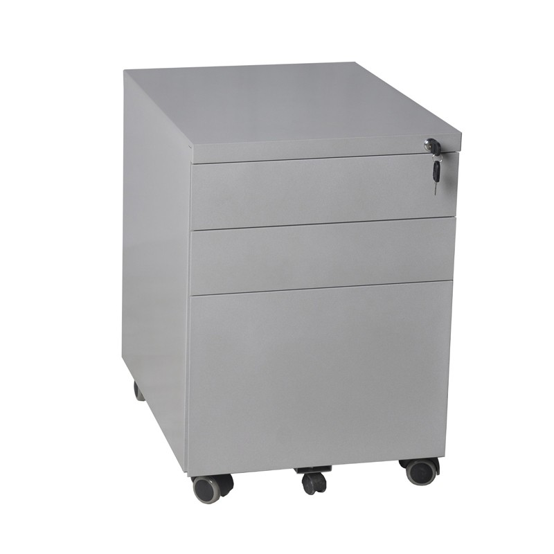 Under Desk Gray Steel Mobile Pedestal File Cabinet