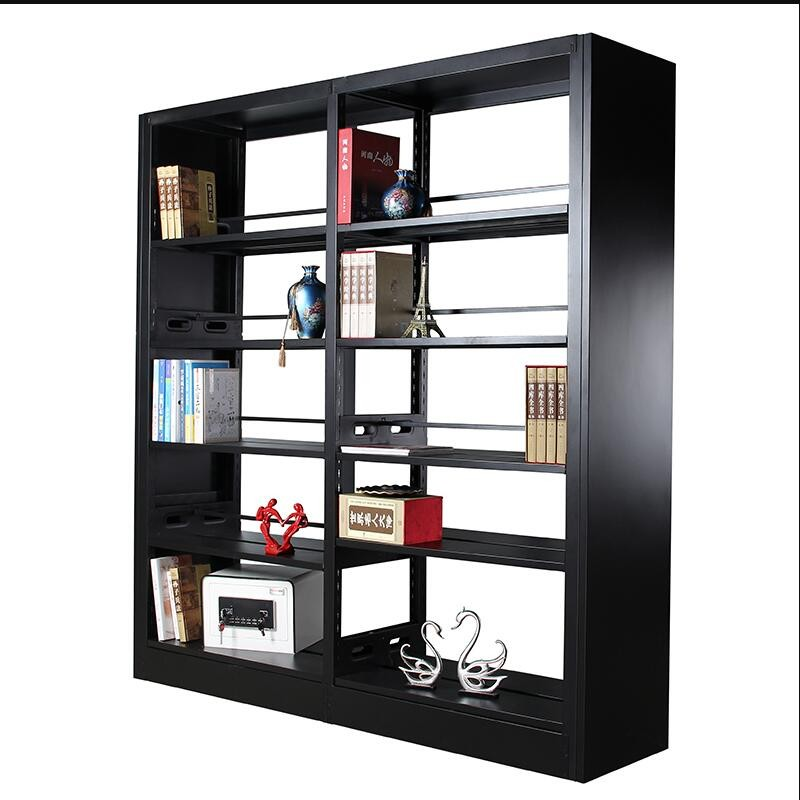 KD Structure Tall Black Metal And Wook Bookcase