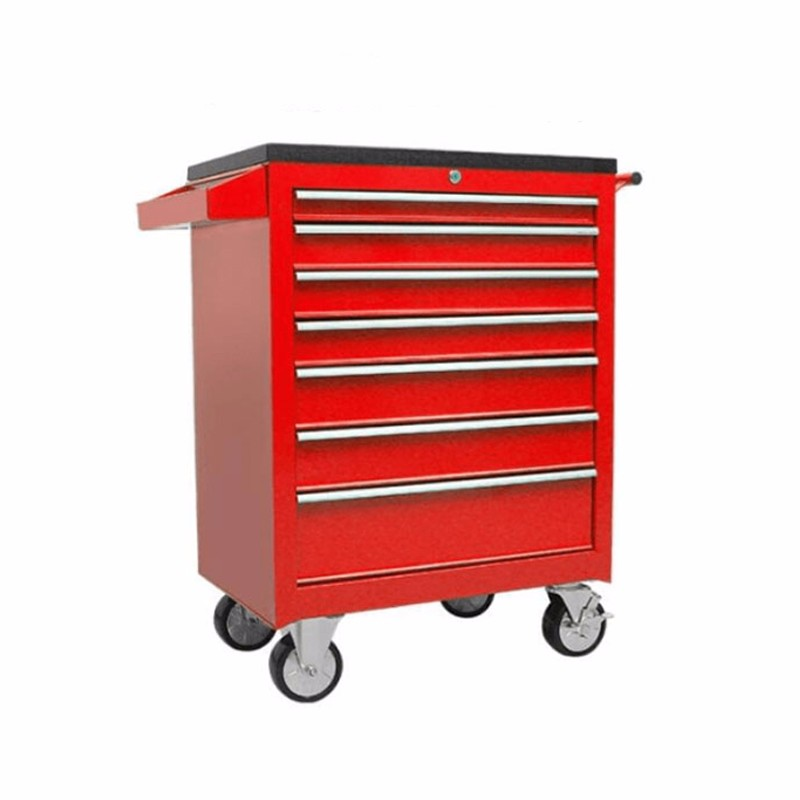 Red Roller Metal Drawer Tool Box Trolley