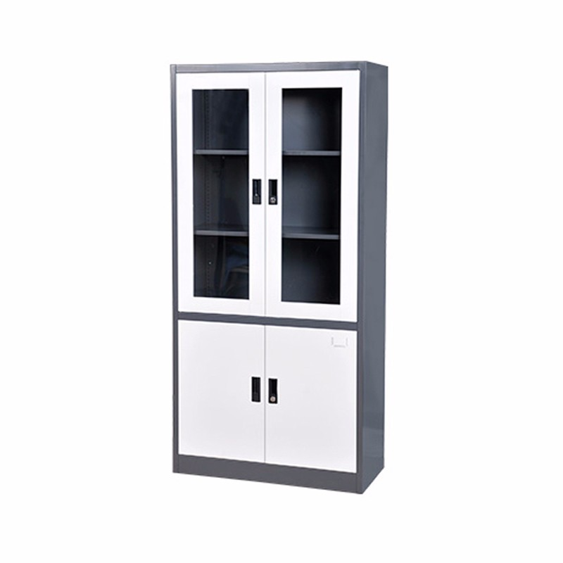 Grey Foldable Glass Door Metal Filing Cabinet