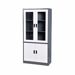Grey Foldable Glass Door Metal Filing Cabinet