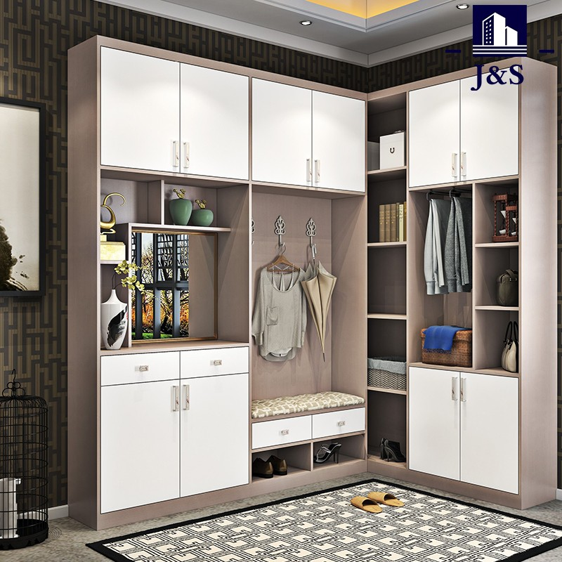 White Small High Glossy Wardrobe With Drawers And Mirror