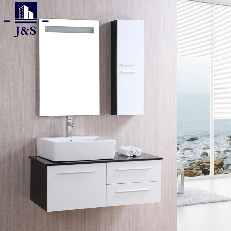 White Wooden Built In Vanity Bathroom Cabinet