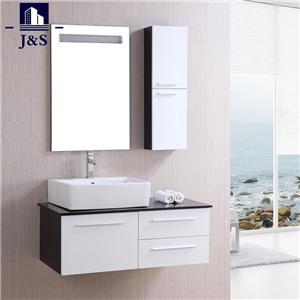 White Wooden Built In Vanity Bathroom Cabinet