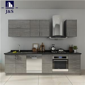 Black oak corner wall kitchen cabinets