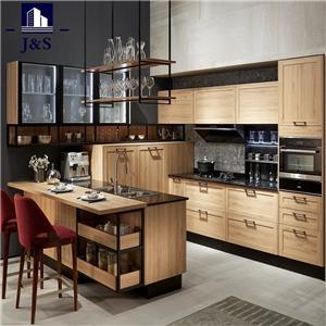 Cherry wood hanging glass door kitchen cabinet