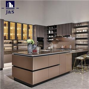 Prefabricated mahogany stock cabinet kitchen cabinets