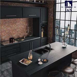 Contemporary black kitchen cupboard cabinets