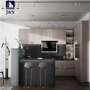 Unfinished kitchen cabinet construction with pulls lighting
