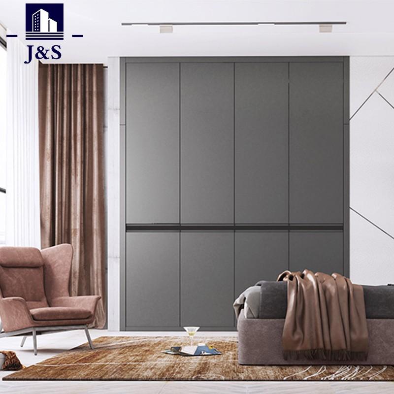 Modern double three door clothes build in wardrobe