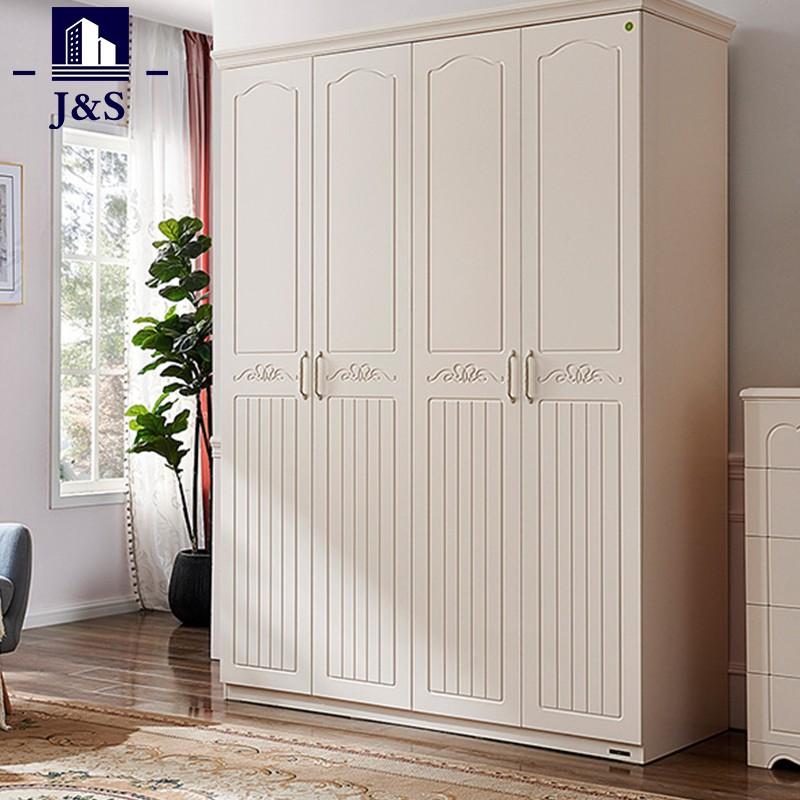 Slim wood bedroom wardrobe closet deisgn organizer with shelves