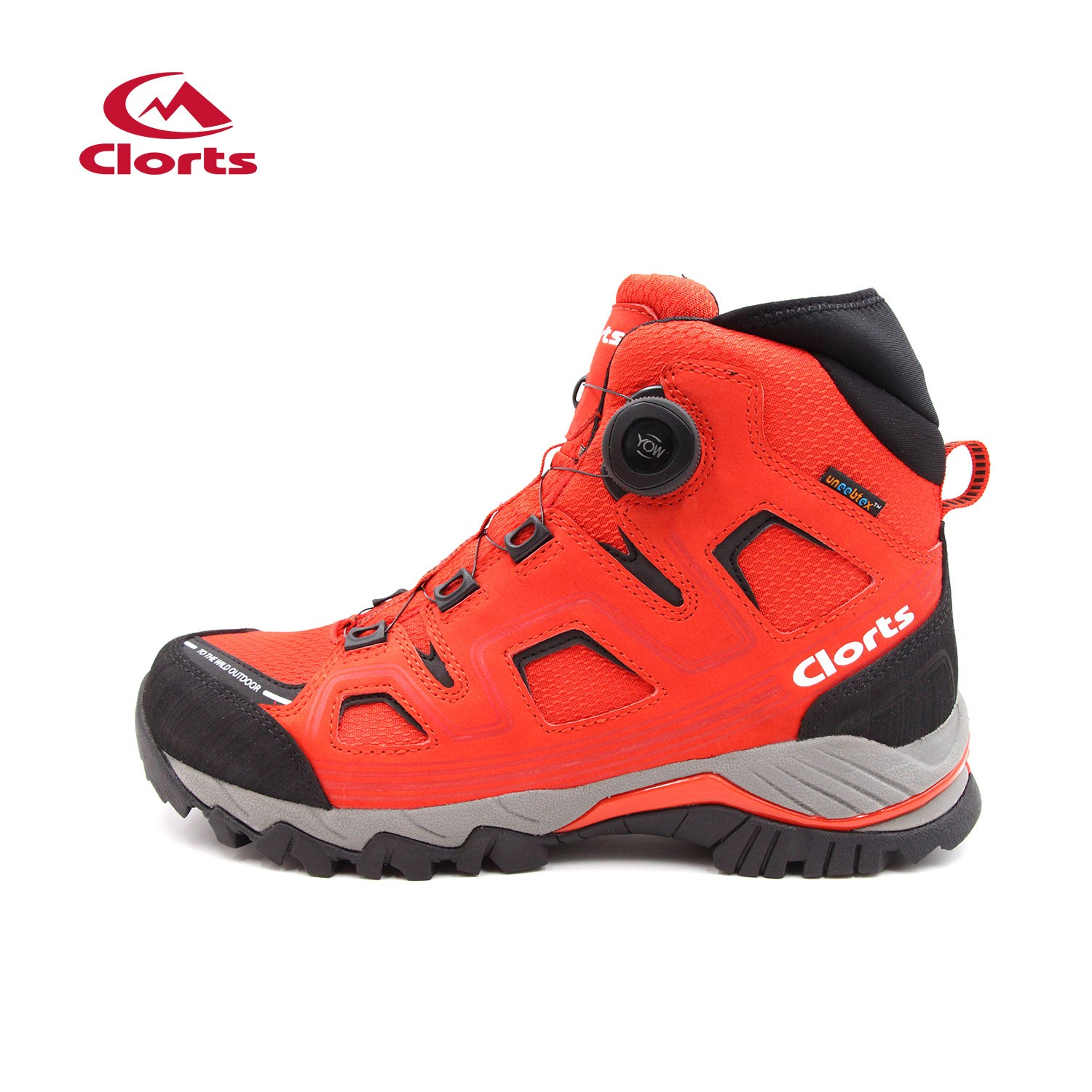 Clorts Mens Mid Waterproof Hiking Boots Red