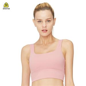 Ladies Plain Yoga Crop Top Pink Sports Bra