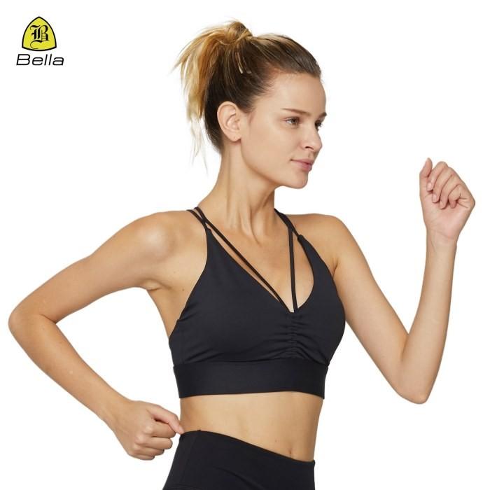 V Neck Open Back Womens Workout Sports Bra