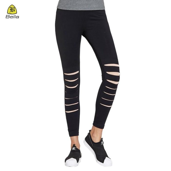 Вузькі брюки для йоги підлітка з вирізом чорні