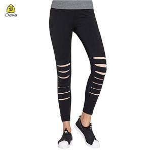 Tight Teen Cut Knee Yoga Pants Black