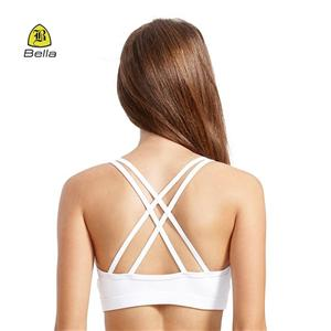 Woman Cris Cross Fitness White Sports Bra