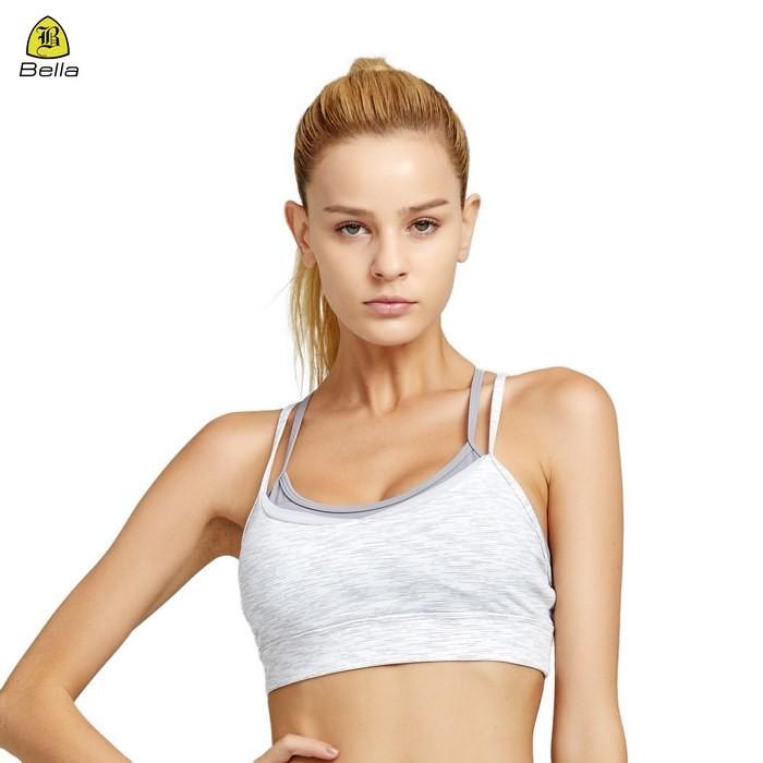 Stripe Women's White Sport Exercise Bra