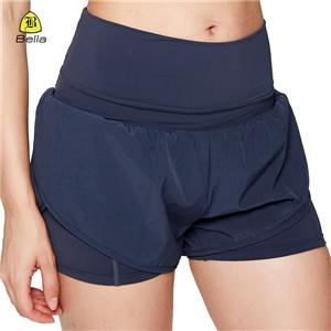Ladies High Waisted Blue Gym Shorts