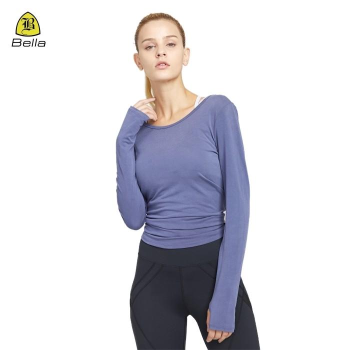 Camicie per fitness donna yoga con foro per il pollice