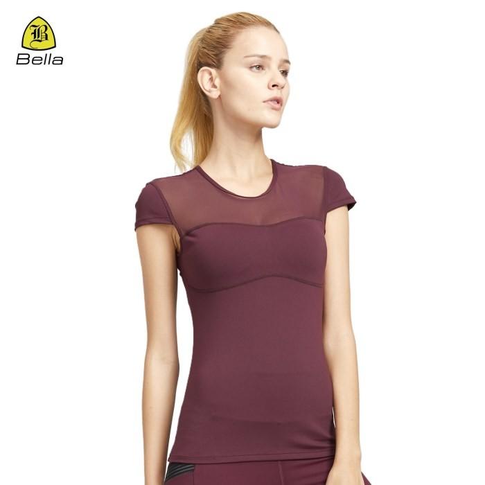 T-shirt per abbigliamento sportivo con petto in rete da donna Yoga