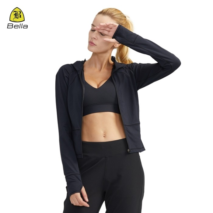 Girls Zip Gym Pakai Jaket Thumb Hole Yoga
