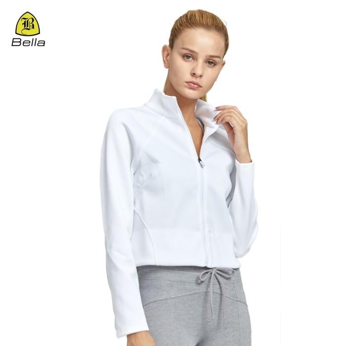 Woman White Running Yoga Zipper Jacket