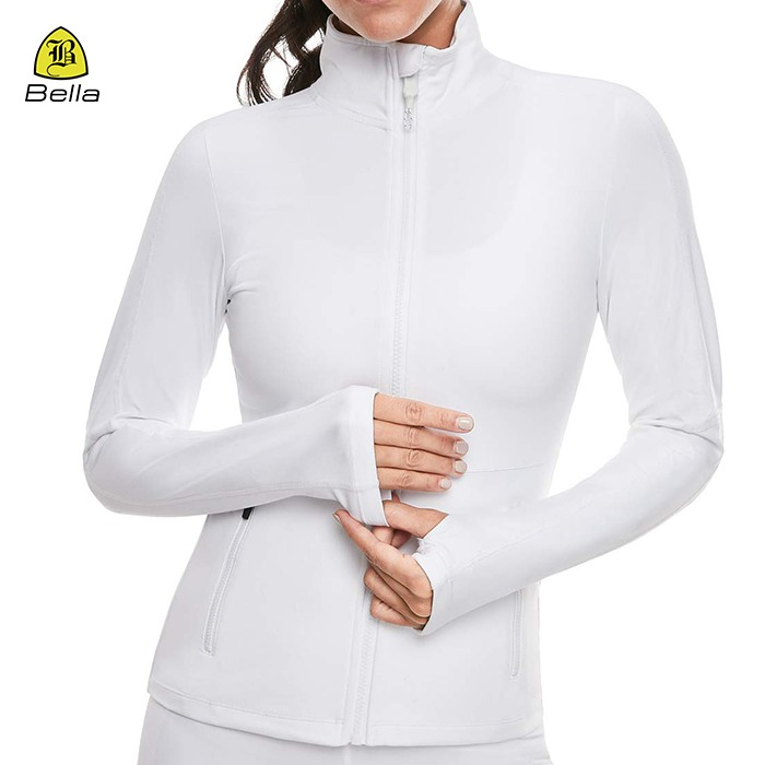 Full Zip White Sports Female Gym Jacket