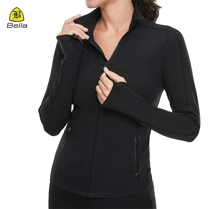 Zipper Collar Blank Female Sports Jackets