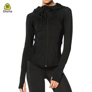 Thumb Hole Yoga Hoodies wanita dengan zip