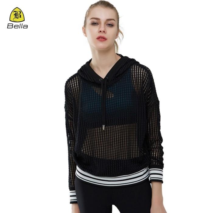 Frauen Mesh Active Wear Workout Hoodies