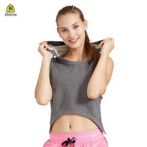 Woman Pocket Sports Grey Crop Top Hoodie