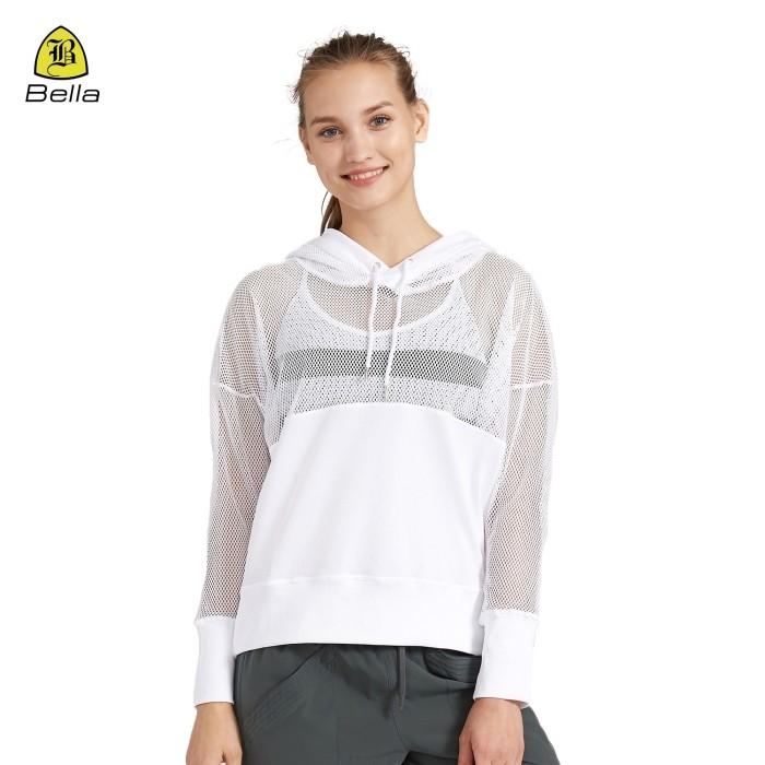 Weißer Sport-Netz-weiblicher Gym Hoodie