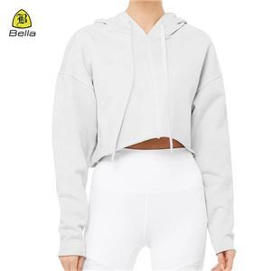 Poliester White Workout Hoodie Untuk Wanita