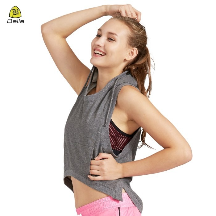 Sleeveless Women Active Hoodie With Pocket
