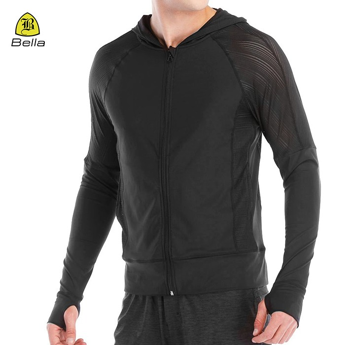 Plain Mens Running Jacket With Hoodie