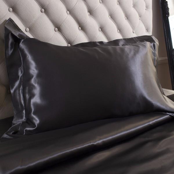 Black Satin Pillow Case Zipper