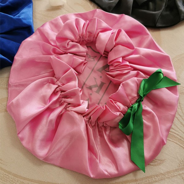 Large 100% Silk Pink Sleeping Cap For Long Hair Bonnet