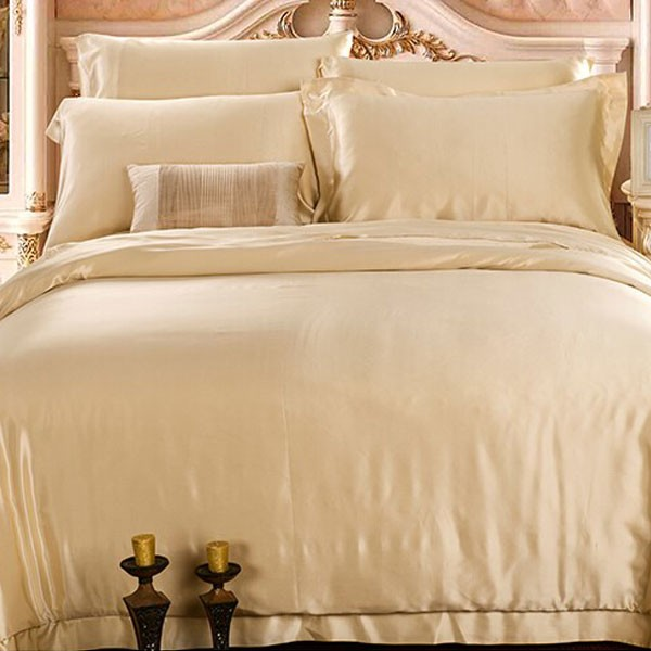 Karamell färg 19MM Silk Bedding Set