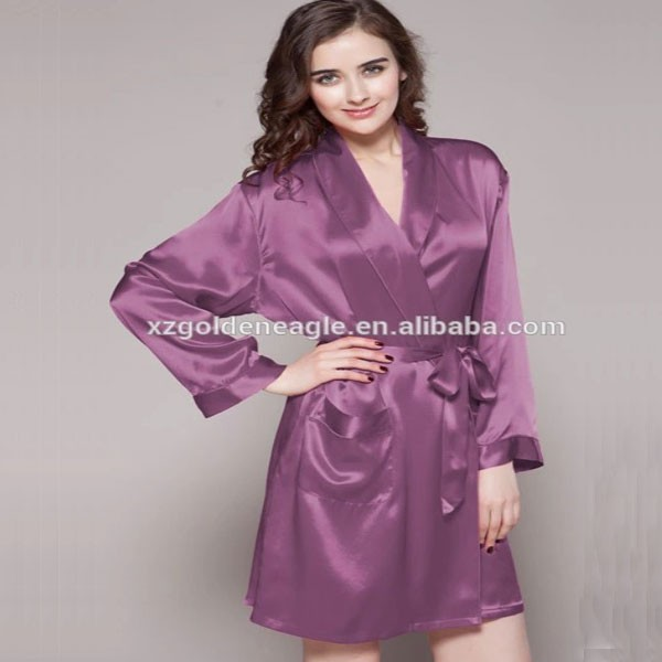 100% Silk Short Robe Nightgown