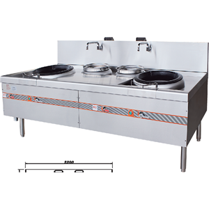 Stainless Steel 2 Burners And 2 Warmers Gas Wok Stove