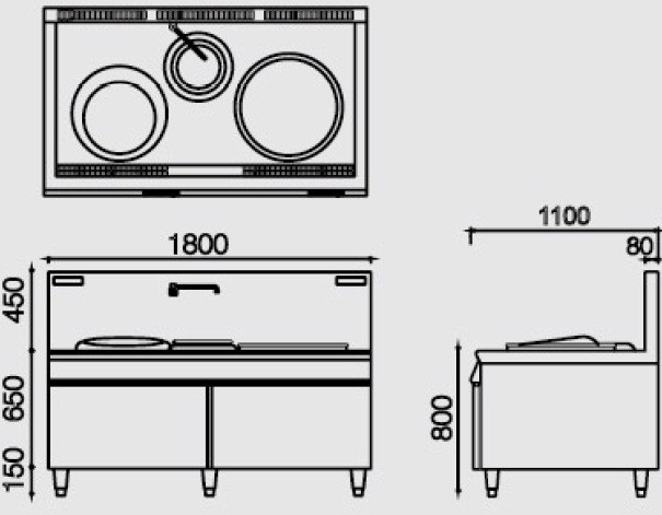 Induction combination wok cooker with stock pot