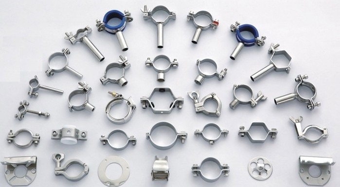 Stainless steel pipe clamps with blue sleeve