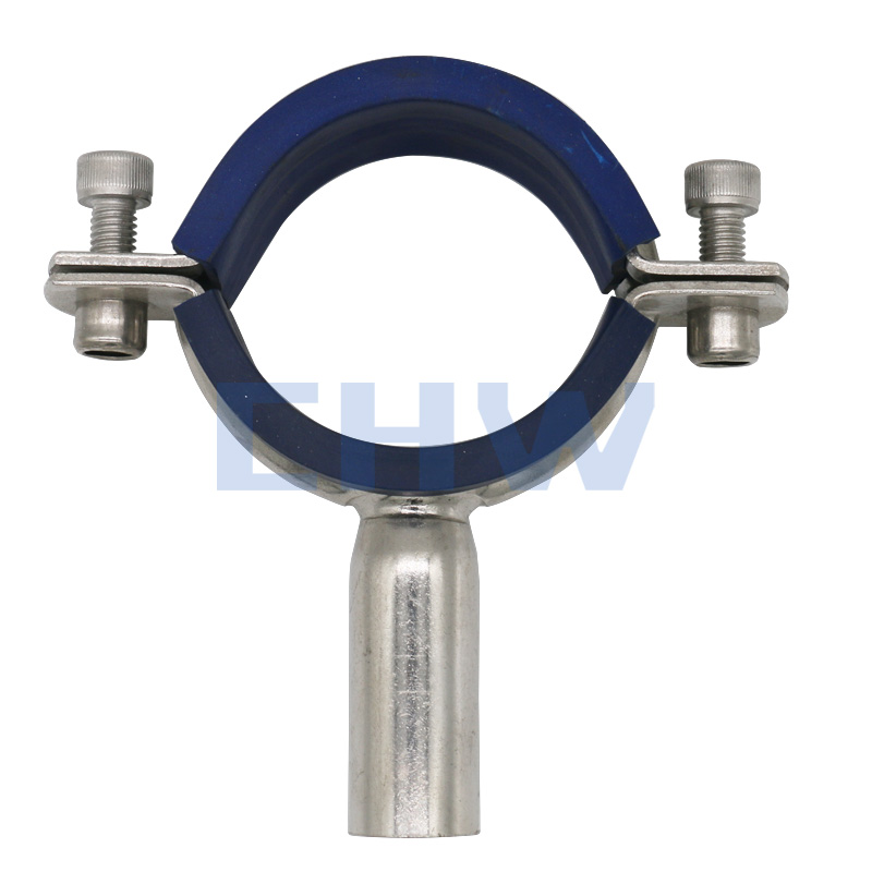 Stainless steel Round pipe holder with blue sleeve
