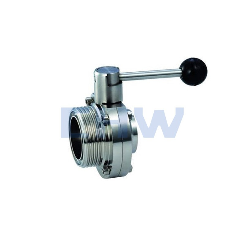 Sanitary stainless steel high quality welded and threaded butterfly valve ss304 ss316L DIN SMS ISO 3A BPE IDF AS BS