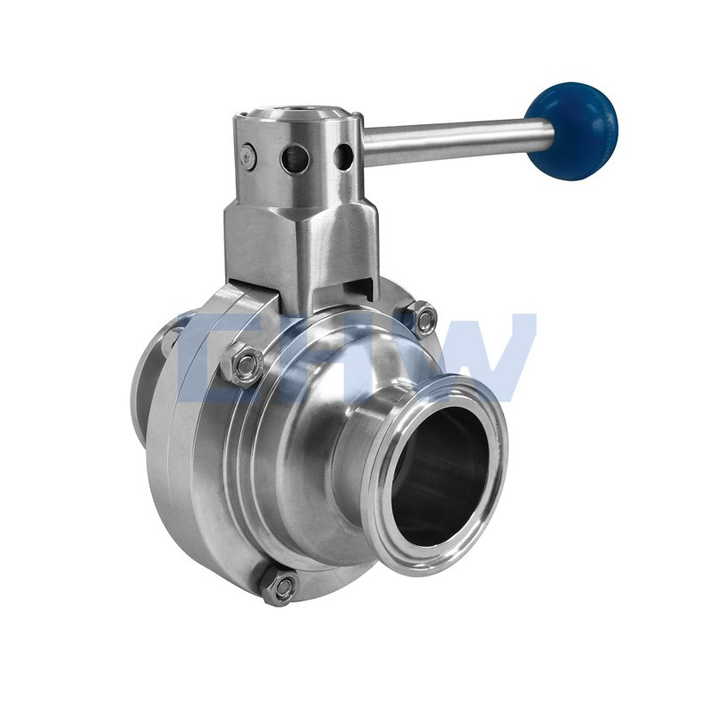 Stainless steel sanitary quick installed butterfly valve