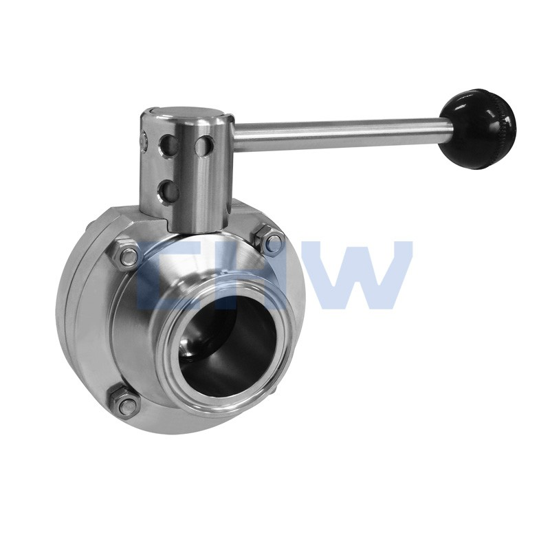 Sanitary stainless steel high quality manual double-face quick installed butterfly valve SS304 SS316L DIN SMS ISO 3A BPE IDF AS