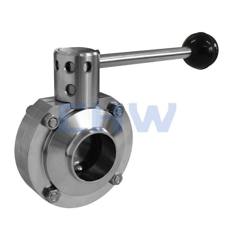 Sanitary stainless steel high quality maual welded butterfly valve ss304 ss316L DIN SMS ISO 3A BPE IDF AS BS