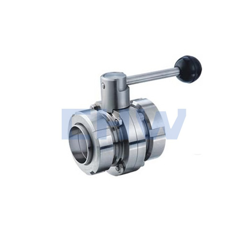 Sanitary stainless steel high quality Manual double face theaded butterfly valve ss304 ss316L DIN SMS ISO 3A BPE IDF AS BS